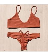 Unique Bandage Design Solid Color Bikini Set
