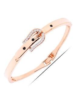 Rhinestone Embellished Buckle Design Golden Fashion Bracelet