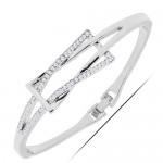 Rhinestone Inlaid Graceful Bowknot Design Alloy Bangle - Silver