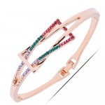 Rhinestone Inlaid Graceful Bowknot Design Alloy Bangle - Golden