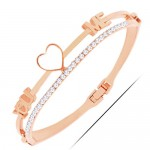 Rhinestone Embellished Love You and Me Design High Fashion Bangle