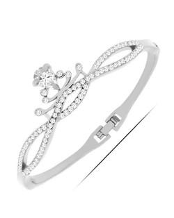 Cubic Zirconia and Rhinestone Embellished Queen Crown Design Fashion Bangle - Silver