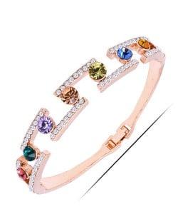 Multicolor Gems and Rinestone Embellished High Fashion Golden Bangle