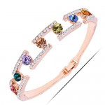 Multicolor Gems and Rinestone Embellished High Fashion Golden Bangle