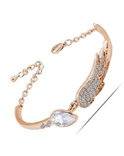 Rhinestone Embeillished Angel Wing Fashion Women Bracelet