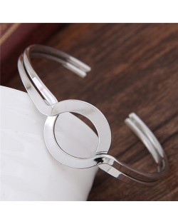 Simple Artistic High Fashion Alloy Bangle - Silver