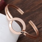 Simple Artistic High Fashion Alloy Bangle - Golden