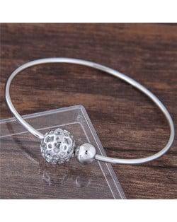 Alloy Hollow Balls Design Fashion Bangle - Silver