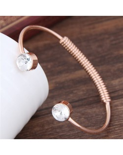 Gem Inlaid Weaving Wire Design Alloy Fashion Bangle - Golden