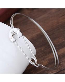 Unique Safety Pin Design Fashion Bangle - Silver