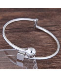 Cube and Ball Combo Design Alloy Fashion Bangle - Silver