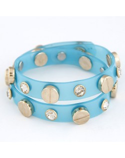 Rhinestone and Button Embedded Dual Layer Bracelet - Blue