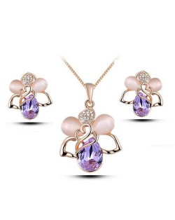 Rose Floral Fashion Waterdrop Design Necklace and Earrings Set