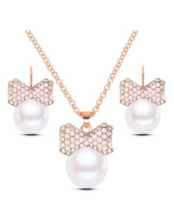 Rhinestone Embellished Pearl Fashion Necklace and Earrings Set - Golden