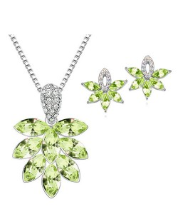 Shining Grape Fashion Necklace and Earrings Set - Green