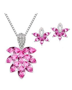 Shining Grape Fashion Necklace and Earrings Set - Rose