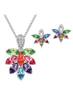 Shining Grape Fashion Necklace and Earrings Set - Multicolor