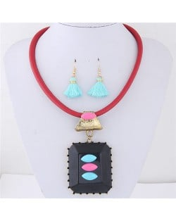 Oblong Resin Gem Pendant Leather Necklace and Earrings Set - Red