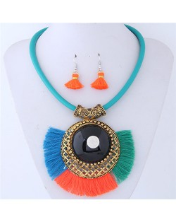 Large Gem Inlaid Hollow Round Pendant with Tassel Design Fashion Necklace and Earrings Set