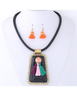 Tassels Attached Gem Pendant Bohemian Fashion Necklace and Earrings Set - Black