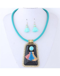 Tassels Attached Gem Pendant Bohemian Fashion Necklace and Earrings Set - Blue