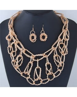 Chunky Weaving Chain Style Costume Necklace and Earrings Set - Golden