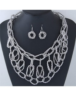 Chunky Weaving Chain Style Costume Necklace and Earrings Set - Silver