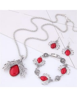 Gem Inlaid Ladybug Pendants Design Costume Necklace and Earrings Set - Red