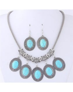 Artificial Turquoise Inlaid Oval-shaped Pendants Vintage Cloud Engraving Fashion Necklace and Earrings Set - Teal