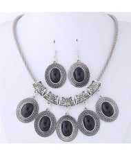 Artificial Turquoise Inlaid Oval-shaped Pendants Vintage Cloud Engraving Fashion Necklace and Earrings Set - Black