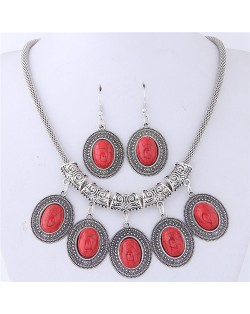 Artificial Turquoise Inlaid Oval-shaped Pendants Vintage Cloud Engraving Fashion Necklace and Earrings Set - Red