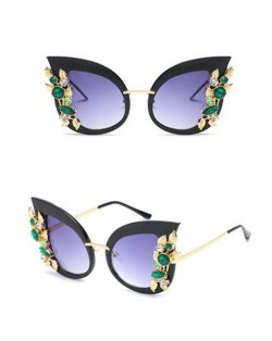 8 Colors Available Green Gems and Golden Leaves Decorated Frame High Fashion Sunglasses