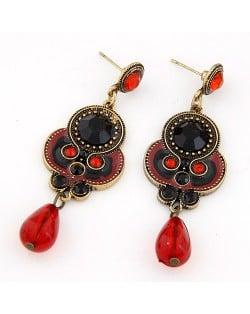 Vintage Style Red Water Drop Dangle Earrings