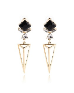 Dimensional Square Gem Inlaid Hollow Golden Triangle Pendant Design Alloy Stud Earrings