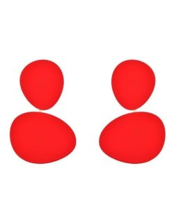 High Fashion Ovals Combo Design Costume Earrings - Red