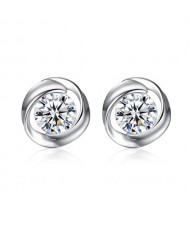 High Calibre Cubic Zirconia Inlaid Spiral Design 925 Sterling Silver Stud Earrings