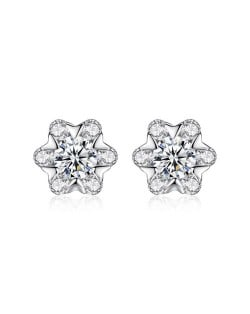 AAA Level Cubic Zirconia Inlaid Snowflake Design 925 Sterling Silver Stud Earrings