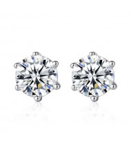 Eight Hearts and Arrows AAA Level Cubic Zirconia Inlaid 925 Sterling Silver Stud Earrings