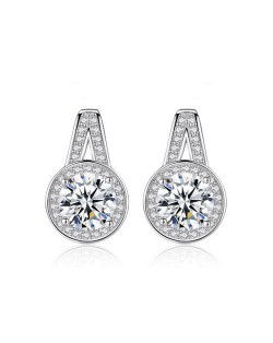 Eight Hearts and Arrows AAA Level Cubic Zirconia Inlaid European Style 925 Sterling Silver Stud Earrings