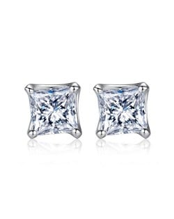 Square Cubic Zirconia Inlaid 925 Sterling Silver Stud Earrings