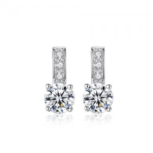 Eight Hearts and Arrows AAA Level Cubic Zirconia Inlaid Dangling Style 925 Sterling Silver Earrings