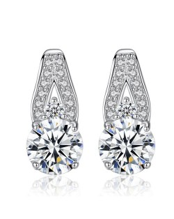 AAA Level Cubic Zirconia Inlaid Waterdrop Design 925 Sterling Silver Stud Earrings