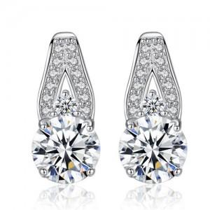 AAA Level Cubic Zirconia Inlaid Waterdrop Design 925 Sterling Silver Stud Earrings