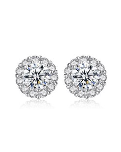 AAA Level Cubic Zirconia Inlaid Flower Design 925 Sterling Silver Earrings