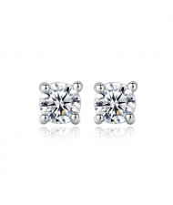 AAA Level Cubic Zirconia Inlaid Flour Flaws Design 925 Sterling Silver Earrings