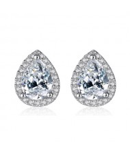 Shining Waterdrops Design Cubic Zirconia Inlaid 925 Sterling Silver Earrings
