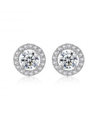 AAA Level Cubic Zirconia Inlaid with Shining Rhinestone Rimmed Round Shape 925 Sterling Silver Stud Earrings