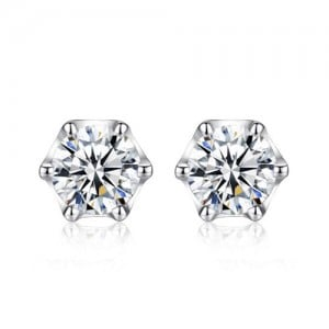 AAA Level Cubic Zirconia Inlaid Six Claws 925 Sterling Silver Stud Earrings