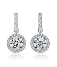 AAA Level Cubic Zirconia Dangling Pendant Design Lady Fashion 925 Sterling Silver Stud Earrings