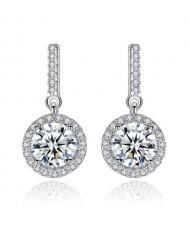 AAA Level Cubic Zirconia Dangling Pendant Design Lady Fashion 925 Sterling Silver Stud Earrings